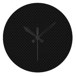 Fibra perforada negra reloj redondo grande