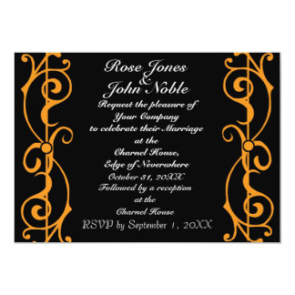 Fibril Ebony (Orange) Wedding Invitation