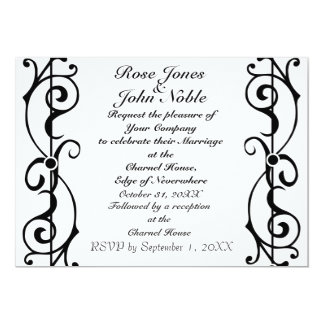 Fibril Ivory (Black) Wedding Invitation