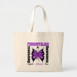 Fibromyalgia Awareness Butterfly Large Tote Bag