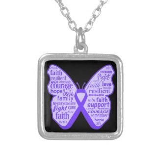 Fibromyalgia Awareness Butterfly Ribbon Square Pendant Necklace