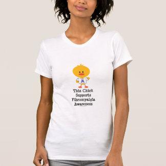 Fibromyalgia Awareness Chick Scoop Neck Tee Shirt
