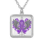 Fibromyalgia Awareness Cool Wings Square Pendant Necklace