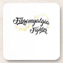 Fibromyalgia Awareness Fighter Ribbin Beverage Coaster