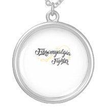 Fibromyalgia Awareness Fighter Ribbin Silver Plated Necklace