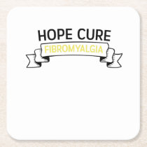 Fibromyalgia Awareness Fighter  Ribbin Square Paper Coaster