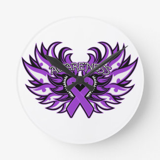 Fibromyalgia Awareness Heart Wings Wall Clocks