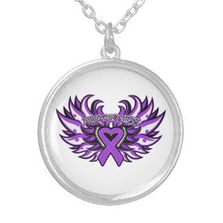 Fibromyalgia Awareness Heart Wings Necklace