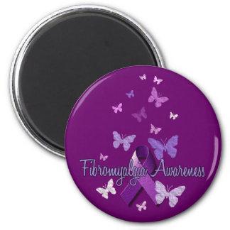 Fibromyalgia Awareness (ribbon & butterflies) 2 Inch Round Magnet