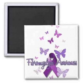 Fibromyalgia Awareness (ribbon & butterflies) 2 Inch Square Magnet