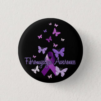 Fibromyalgia Awareness (ribbon & butterflies) Button