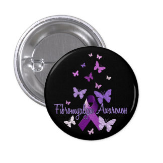 Fibromyalgia Awareness (ribbon & butterflies) Button