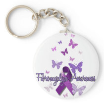 Fibromyalgia Awareness (ribbon & butterflies) Keychain