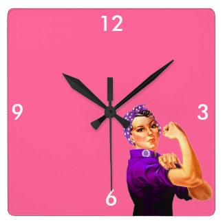Fibromyalgia Awareness Rosie the Riveter Square Wall Clocks