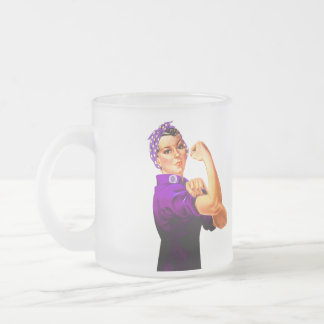 Fibromyalgia Awareness Rosie the Riveter Frosted Glass Coffee Mug