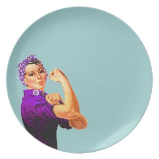Fibromyalgia Awareness Rosie the Riveter Plates