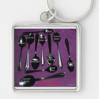 Fibromyalgia Awareness Spoons Keychain