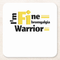 Fibromyalgia Awareness Square Paper Coaster