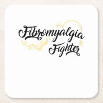 Fibromyalgia Awareness Symptoms Square Paper Coaster