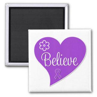 Fibromyalgia Believe Heart 2 Inch Square Magnet