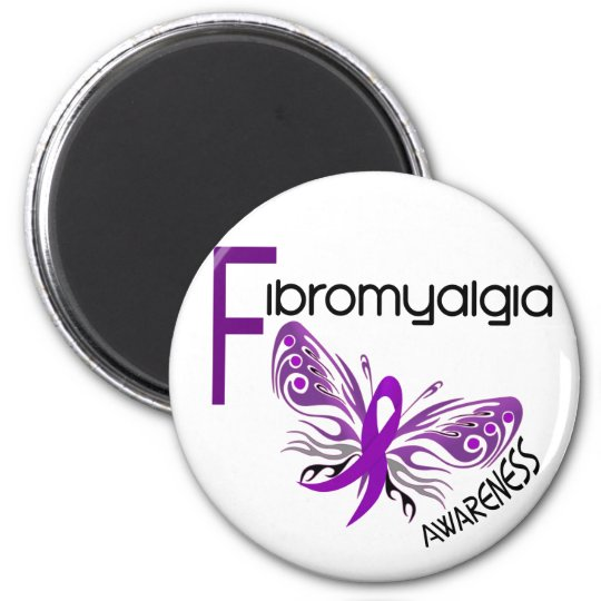Fibromyalgia BUTTERFLY 3 2 Inch Round Magnet