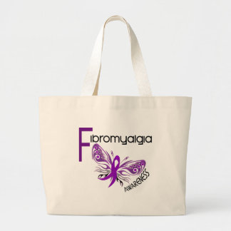 Fibromyalgia BUTTERFLY 3 Large Tote Bag