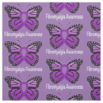 Fibromyalgia Butterfly Awareness Ribbon Fabric