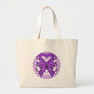 Fibromyalgia Butterfly Circle of Ribbons Canvas Bag