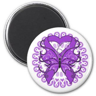 Fibromyalgia Butterfly Circle of Ribbons Fridge Magnet