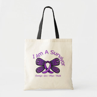 Fibromyalgia  Butterfly I Am A Survivor Tote Bag