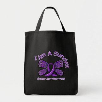 Fibromyalgia  Butterfly I Am A Survivor Canvas Bags