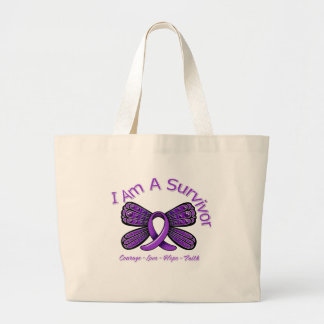 Fibromyalgia  Butterfly I Am A Survivor Tote Bag