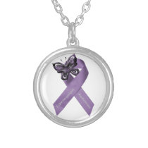 Fibromyalgia Butterfly Ribbon Necklace