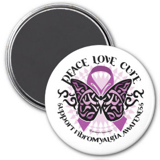 Fibromyalgia Butterfly Tribal 3 Inch Round Magnet