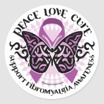 Fibromyalgia Butterfly Tribal Classic Round Sticker