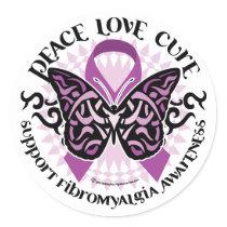 Fibromyalgia Butterfly Tribal Classic Round Sticker