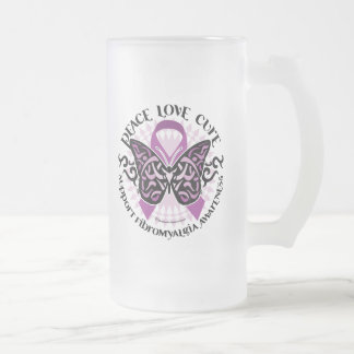 Fibromyalgia Butterfly Tribal Frosted Glass Beer Mug