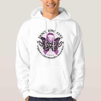 Fibromyalgia Butterfly Tribal Hooded Pullover