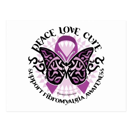 Fibromyalgia Butterfly Tribal Postcard