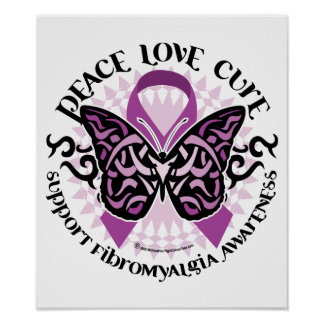 Fibromyalgia Butterfly Tribal Poster