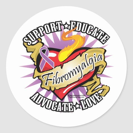 Fibromyalgia Classic Heart Classic Round Sticker