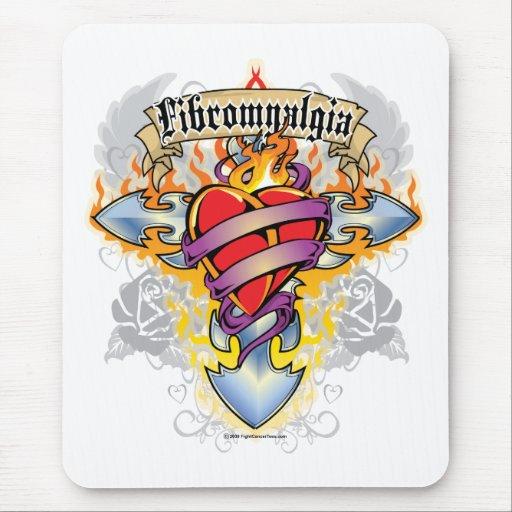 Fibromyalgia Cross & Heart Mouse Pad