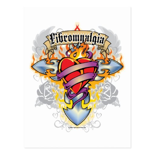 Fibromyalgia Cross & Heart Postcard