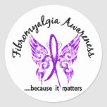 Fibromyalgia de la mariposa 6,1 del tatuaje del etiqueta redonda