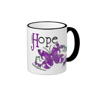 Fibromyalgia de la mariposa del vitral taza