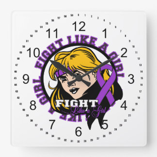 Fibromyalgia Fight Like A Girl Attitude Square Wall Clocks
