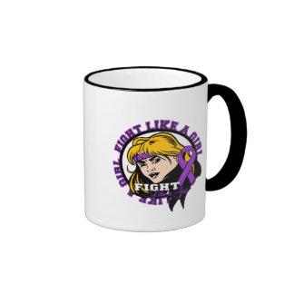 Fibromyalgia Fight Like A Girl Attitude Ringer Coffee Mug