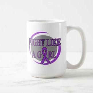 Fibromyalgia Fight Like A Girl Circular Classic White Coffee Mug