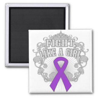 Fibromyalgia Fight Like A Girl Fleurish 2 Inch Square Magnet