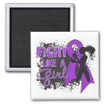 Fibromyalgia Fight Like A Girl Grunge Refrigerator Magnets